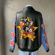 Vintage 90s Mickey Mouse Disney Embroidered Leather Jacket