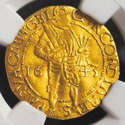 1649, Netherlands, Gelderland. Gold Knight Ducat Coin. 2.92gm Ngc Clipped Xf