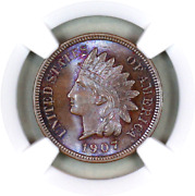 1907 Ms64 Bn Ngc Indian Head Penny Premium Quality Monster Toning