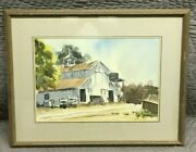 Helen Caswell Vintage Watercolor Landscape Old Farm Barn Realism Signed Ex.
