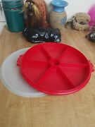 Vintage Tupperware Red Party Susan Divided Relish Fruit Tray With 224 Lid