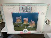 Porcelain Hand Painted Easter Village Hopalong House 10 Piece In Box Lighted 2