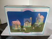 Porcelain Hand Painted Easter Village Hopalong House 9 Piece In Box