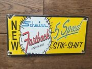 Vintage Schwinn Bike Heavy Porcelain Sign 9.5andrdquo X 4.5andrdquo Gas And Oil Gas Station Sign