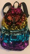 Victoria's Secret Pink Ombre Sequin Rainbow Backpack Fashion Show Bling New