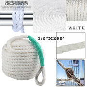 1/2x200and039 Twisted Three Strand Marine Docking Anchor Rope Boat Line W/thimble Us