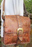 New The Find Tooled Stamped Western Leather Flap Messenger Bag Purse Whipstitch