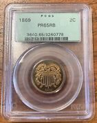 1869 Two Cent Piece Pcgs Pr65rbold Green Holder