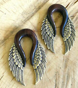 Pair Tribal Wings 9/16 Inch Silver Plated Brass Sono Wood Ear Weights Plugs