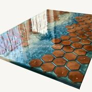 Ocean Resin Blue River Conference Acacia Center Office Meeting Table Honey Cube