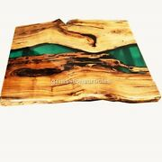 Green Resin Epoxy Dining Table Handmade Luxury Furniture Home And Kitchen Decor