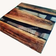 Epoxy Table With Clear Resin River, Custom Table, Live Edge Wooden End Table