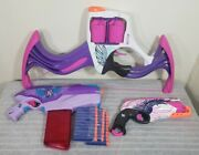 Nerf Rebelle Lot Flipside Bow, Rapid Red, And Sweet Revenge W/ 30 Darts