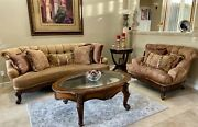 Beautiful Tuscan Living Room Wood Trim And Fabric Couch Loveseat Set And Pillows