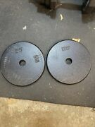 2 X 10lb 1 Hole Cast Iron Pancake Weight Plates 20lbs Total