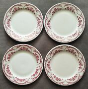 Set Of 4 Sterling China Red Floral 9 Dinner Plates Restaurant Ware