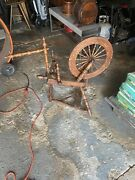 Antique Pa Farmhouse Spinning Wheel 20 Wheel With Foot Peddle 1800s