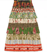 Patchwork Tiered Multi Print Silk Logo Skirt 38 0 Xs 3295 Authentic