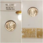 1942-d Ngc Ms66fb Gold Cac Mercury Dime Toned Old 3.0 Fatty Embossed Looks 68fb