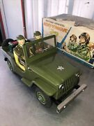 Vintage 60s Tin Toy Battery Operated Jeep Army Command Jeep Patrol Japan Tn Box