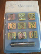 Vintage Lot Of 1- 9 Number Craftool Co. Leather Tool Stamps In Case 3/4 Inch