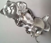 Lenox Crystal Clear Glass Comfy Cozy Cat On Back Figurine New In Box 2003 Cats