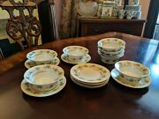 8 Forget-me-not Custard Cups With Underplates Gold Trim M Z Austria
