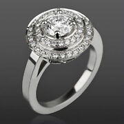 Colorless Diamond Double Halo Ring Earth Mined Vs2 D 18k White Gold 2.09 Carat