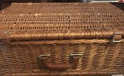 4 Person Willow Wicker Cooler Picnic Basket With Cups, Sauces, Plates, Utensils