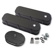 For 65-95 Bbc Chevy Tall Aluminum Smooth Valve Covers Black And 12 X2 Air Filter