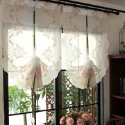 Short Kitchen Curtains Floral Embroidered Roman Blinds White Sheer Curtain