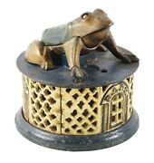 """Rare Original """"frog On Lattice"""" Cast Iron Mechanical Bank By Jande Stevens And Co."""