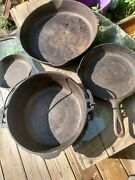 Three Cast Iron Skillets And One Dutch Oven Wagner Griswold Local Pickup Only