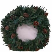 Balsam Hill Mixed Evergreen Wreath 48 Pinecones, Led Lights, New In Open Box