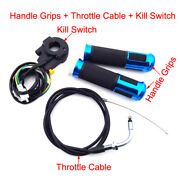 Kill Switch Blue Handle Grips Throttle Cable For 49cc-80cc Motorized Bicycle