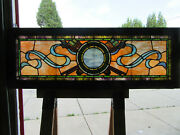 Antique Stained Glass Transom Window 54 X 19.5 Architectural Salvage