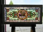 Antique Stained Glass Transom Window Fruit Basket 44.25 X 21.5 Salvage