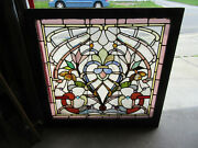 Antique Stained Beveled And Jeweled Glass Window 36 X 35 Salvage