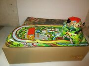 Vintage Cable Car Toy By Technofix W/original Box And Key Germany Tin Toy