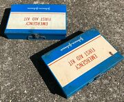 Vintage Johnson And Johnson Emergency First Aid Kits Metal Box Lot Of 2