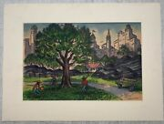 James Russell Sherman Baseball In Central Park New York City Modernist Painting