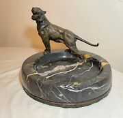 Large Antique Austrian Bronze Figural Tiger Lion Marble Ashtray Jewelry Tray