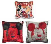 2006 Disney Shopping Vintage Mickey Mouse Poster Art Pillow + Reversible Sequin