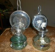 2-lot Unbranded Oil Lamps With Chimney Shades In Nice Shape Used