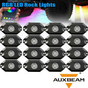 Auxbeam 16pcs Rgb Neon Led Rock Light Control Under Lamp For Offroad Car Truck