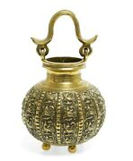 Antique Indian Cast Brass Lota Vase Water Vessel With Peacocks And Cobra Handle