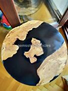 Round Acacia Wood Live Edge Epoxy River Dining Table Top, Acacia Wood Coffee Top