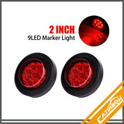 2pcs Red 2 9 Led Round Truck Trailer Side Marker Clearance Lights W/grommet