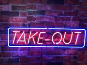 New Take Out Open Food Restaurant Neon Sign 32x16 Beer Lamp Light Glass Bar