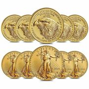 Lot Of 10 - 2021 1/10 Oz Gold American Eagle 5 Coin Bu Type 2